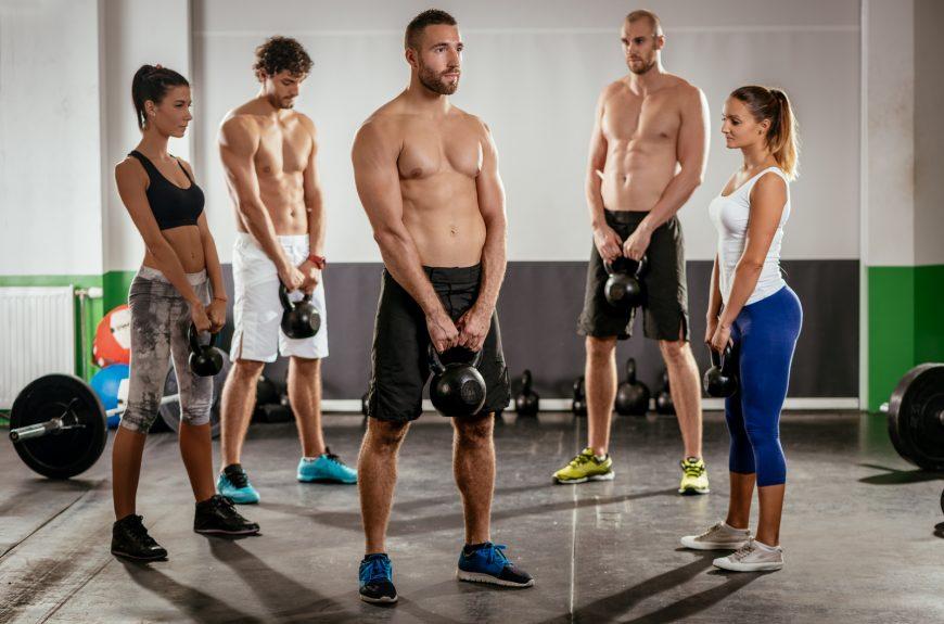 People strength training